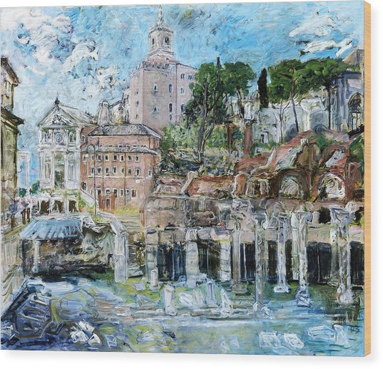 Forum Romanum Wood Print by Joan De Bot