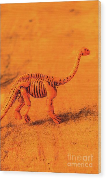 Fossilised Exhibit In Toy Dinosaurs Wood Print