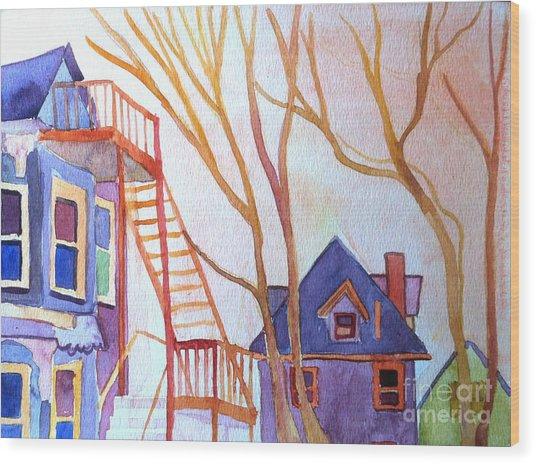 Foster Street Lowell Watercolor Wood Print by Debra Bretton Robinson
