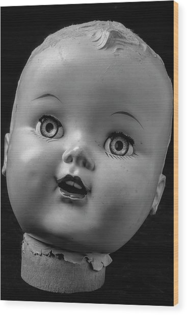 Found Dolls Head Wood Print