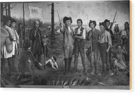 Founding Of New Orleans Wood Print