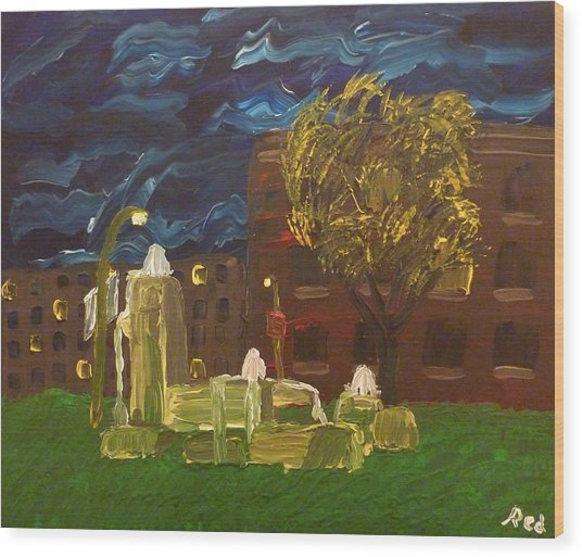 Fountain At Night Wood Print
