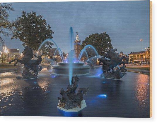 Fountain Blue Wood Print