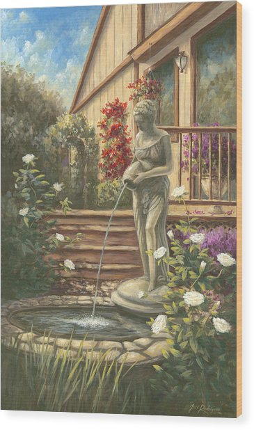 Fountain Lady Wood Print