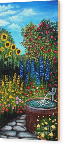Fountain Of Flowers Wood Print