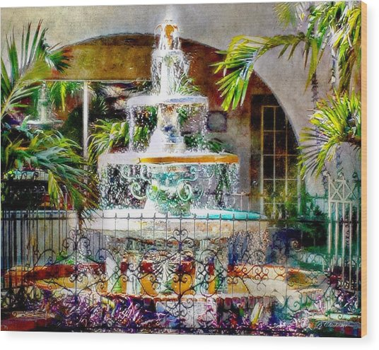 Fountain Of Water Wood Print