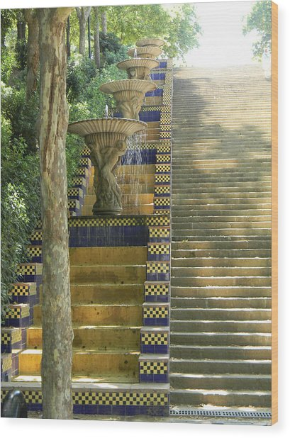 Fountains At Montjuic Wood Print
