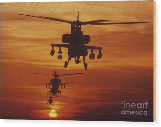 Wood Print featuring the photograph Four Ah-64 Apache Anti-armor by Stocktrek Images