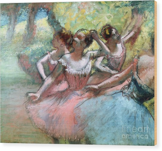 Four Ballerinas On The Stage Wood Print