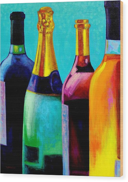 Four Bottles Wood Print