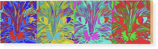 Four Cats Wood Print