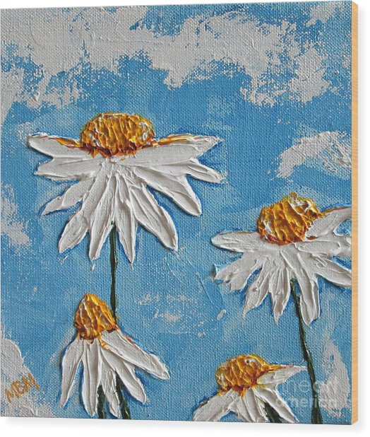 Four Daisies Wood Print