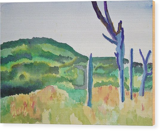 Four Dead Trees After Edward Hopper Wood Print