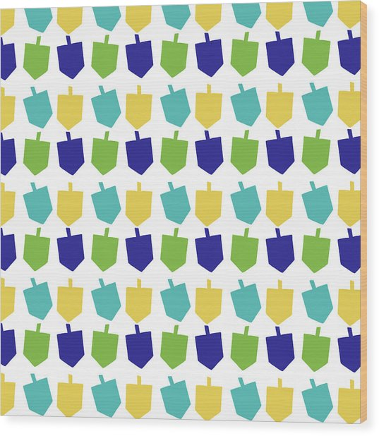 Four Dreidels Pattern- Art By Linda Woods Wood Print