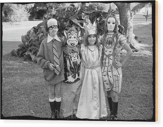 Four Girls In Halloween Costumes, 1971, Part One Wood Print