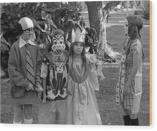 Four Girls In Halloween Costumes, 1971, Part Two Wood Print