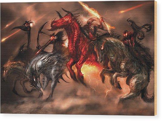Four Horsemen Wood Print by Alex Ruiz