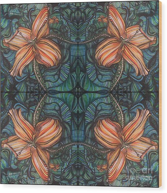 Four Lilies Leaf To Leaf Wood Print