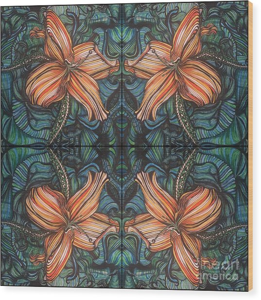 Four Lilies Looking In Wood Print