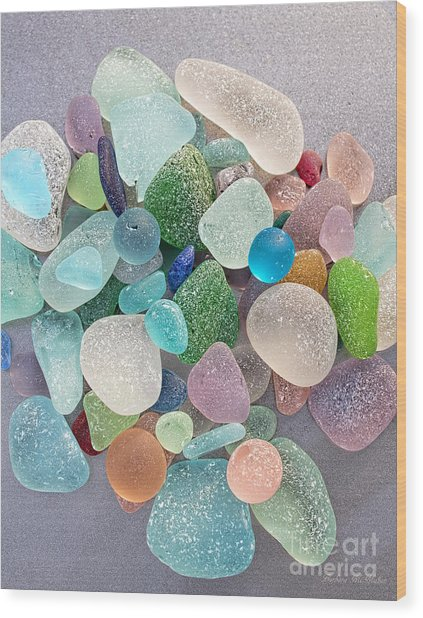 Four Marbles And A Rainbow Of Beach Glass Wood Print