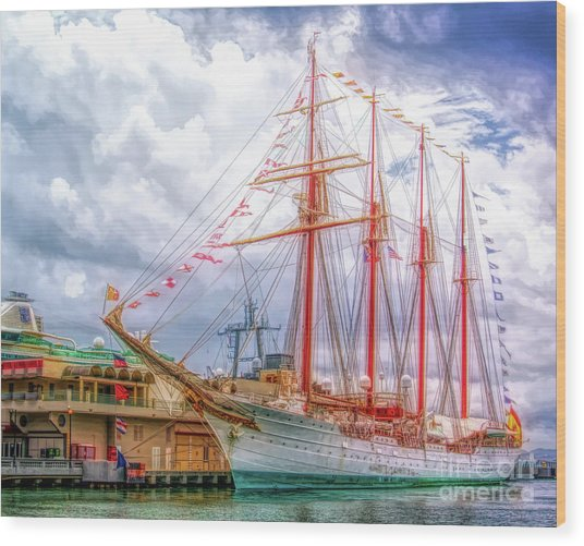 Four Masted Schooner In Port Wood Print