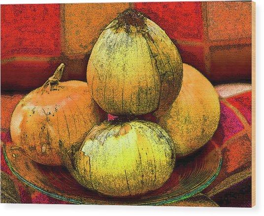 Four Onions  Wood Print