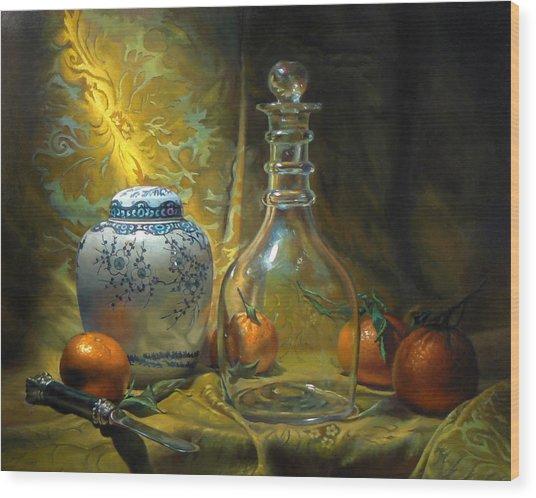 Four Oranges Wood Print by Jeffrey Hayes