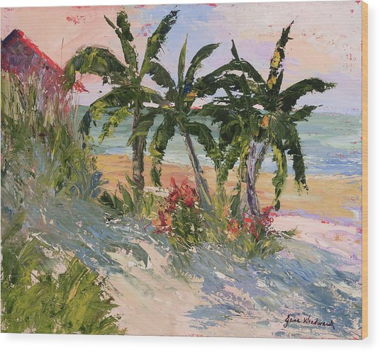 Four Palms Wood Print by Jane Woodward