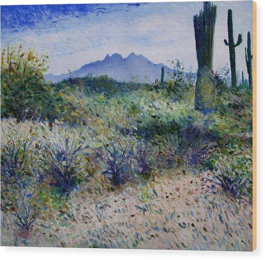 Four Peaks Phoenix Arizona Usa 2003  Wood Print by Enver Larney