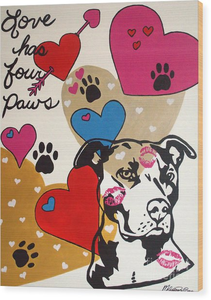 Four Pitty Paws Wood Print