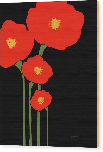 Four Red Flowers On Black Wood Print