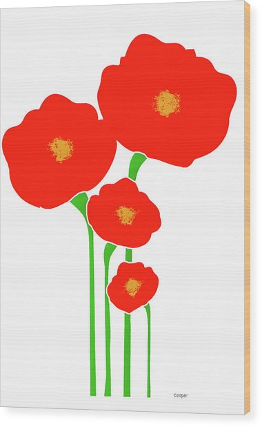Four Red Flowers Wood Print