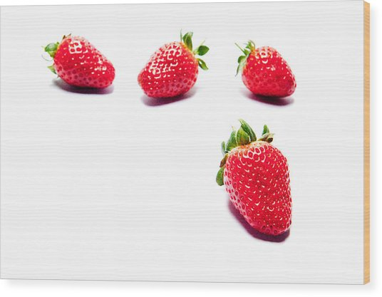 Four Strawberries Wood Print