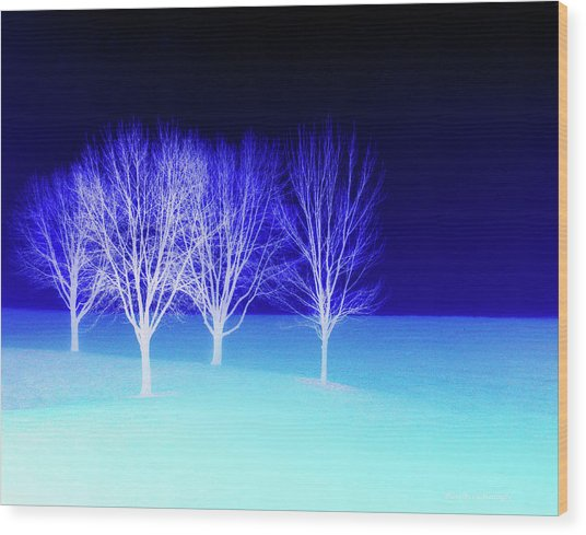 Four Trees In Snow Wood Print