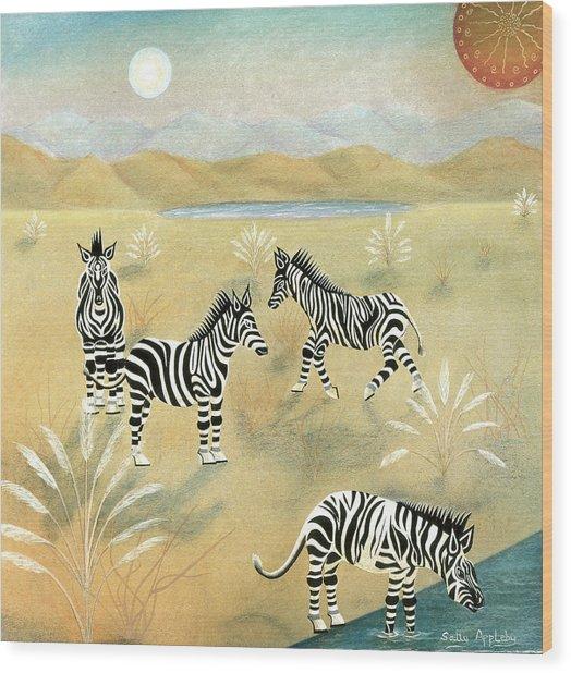 Four Zebras Wood Print by Sally Appleby