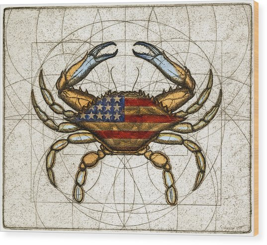 Fourth Of July Crab Wood Print