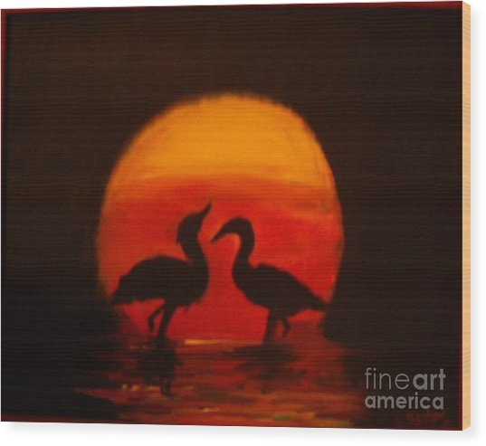 Fowl Love Silhouette Wood Print by Leslie Revels