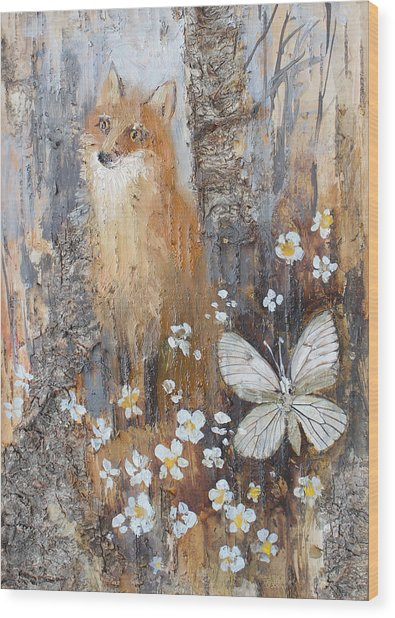 Fox And Butterfly Wood Print