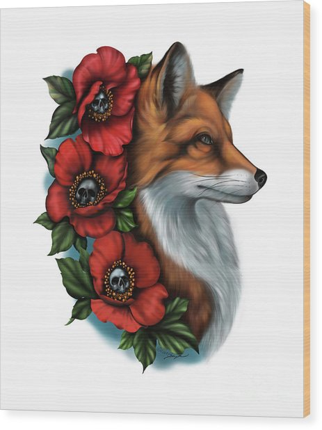 Fox And Poppies Wood Print