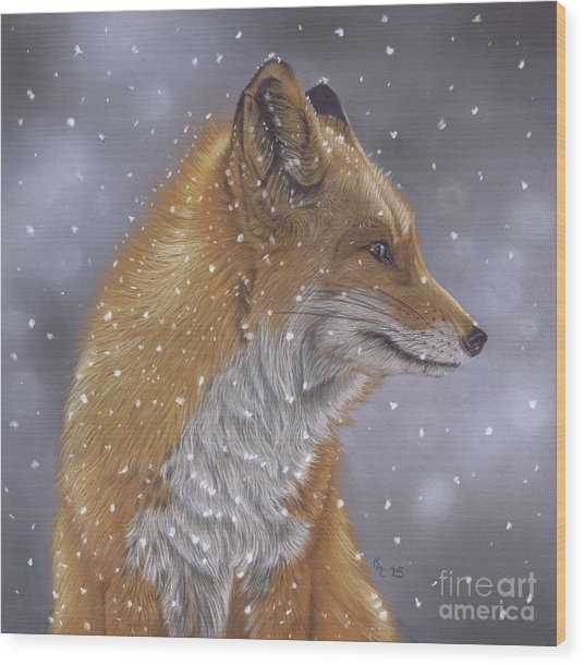 Fox In A Flurry Wood Print