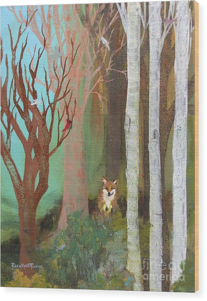 Fox In The Forest  Wood Print