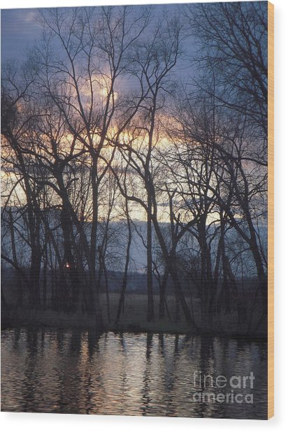 Fox River Sky Wood Print by Deborah Finley