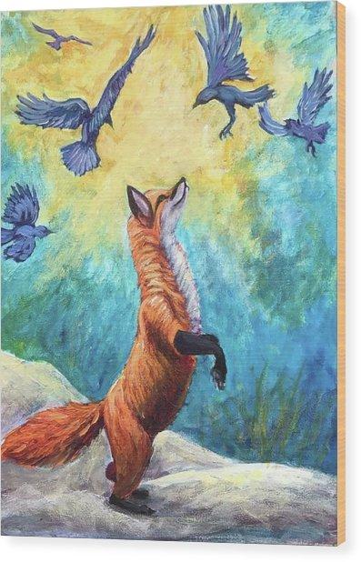 fox Wood Print by Sebastian Pierre