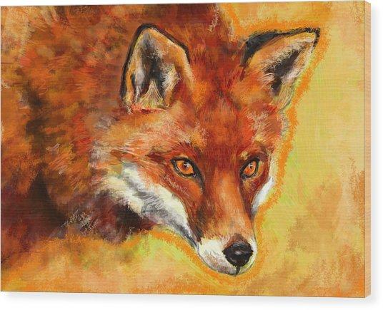 Fox Spirit - Kitsune Wood Print by Lakota Phillips