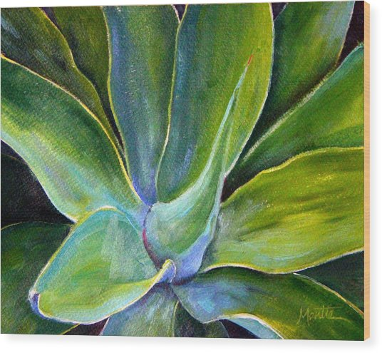Fox Tail Agave 2 Wood Print by Athena Mantle