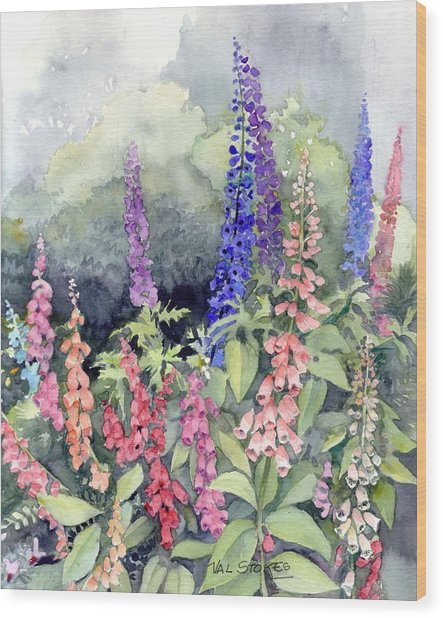 Foxgloves Wood Print by Val Stokes