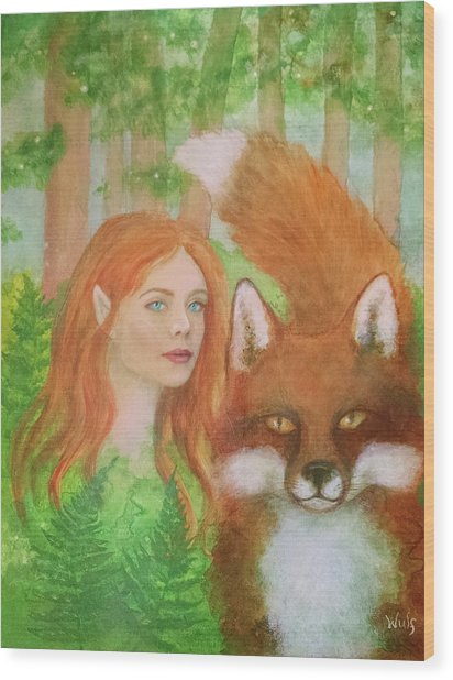Foxy Faery Wood Print
