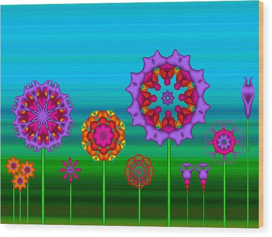 Whimsical Fractal Flower Garden Wood Print