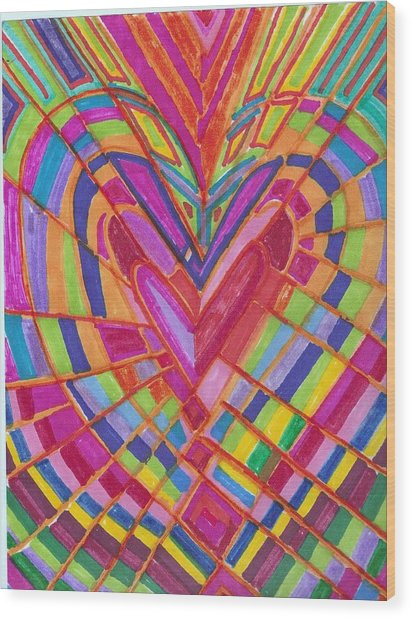 Fractured Heart Wood Print by Brenda Adams