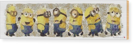 Fragmented And Still In Awe Congratulations Minions Wood Print